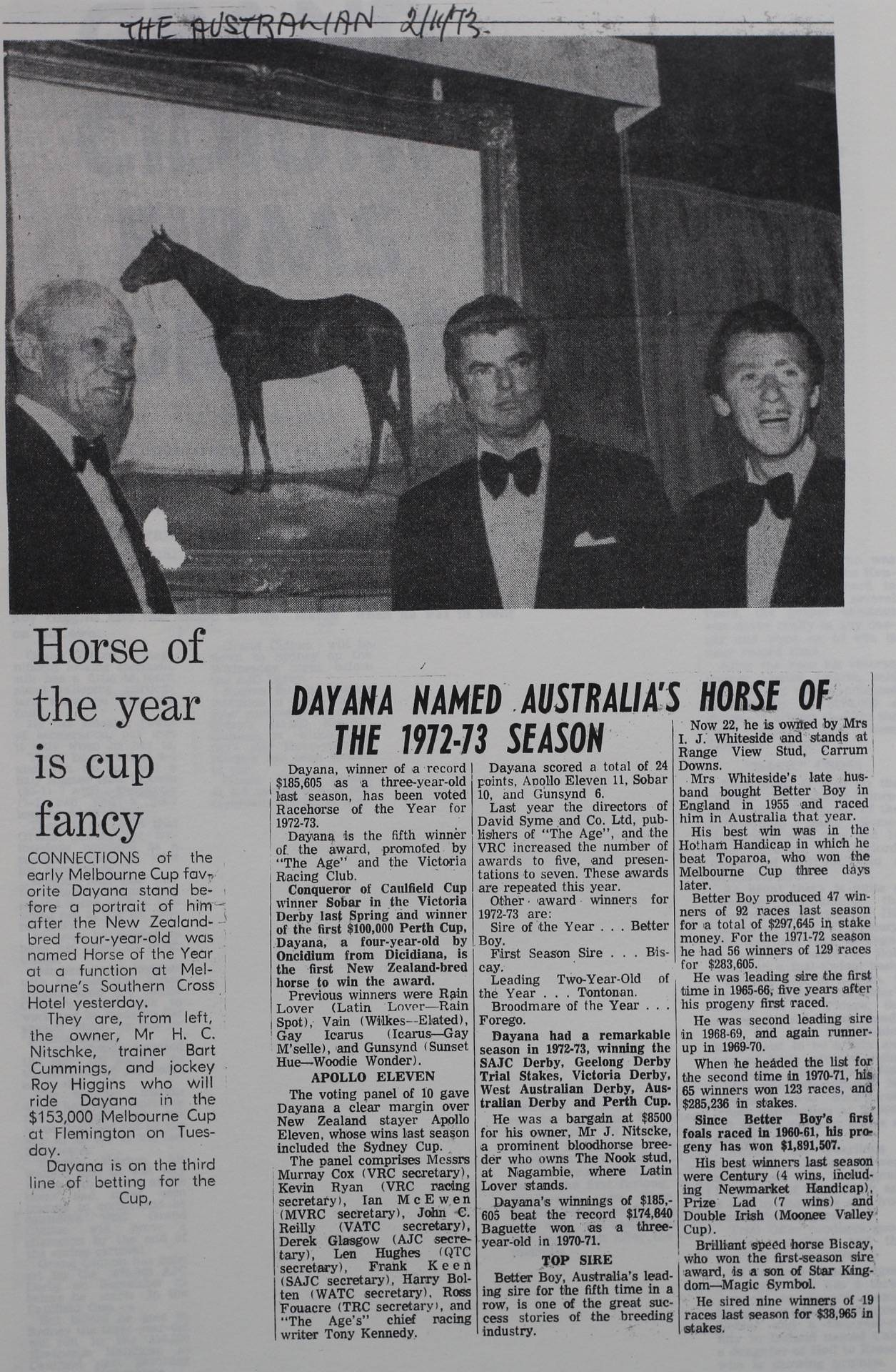 Dayana named Australia's horse of the 1972-73 season