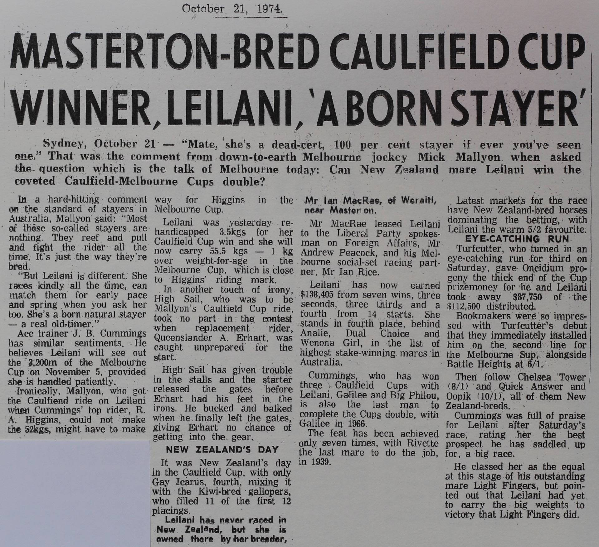 Masterton-bred Caulfield Cup winner, Leilani, 'a born stayer'